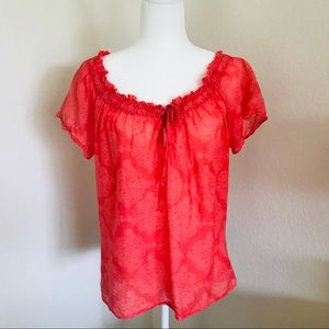 Joie Cotton Silk Coral Peasant Top